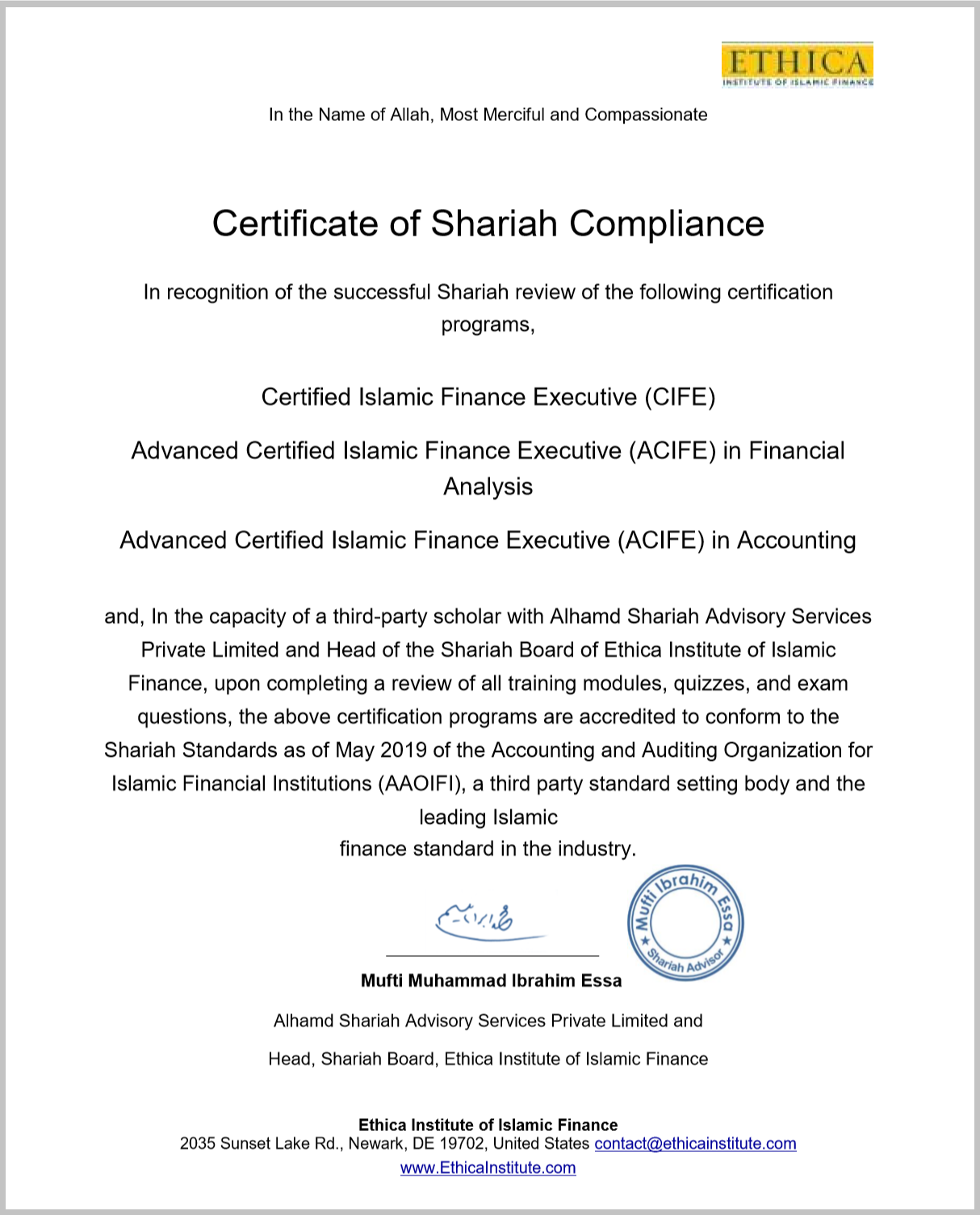 Sharia Compliance Certificate