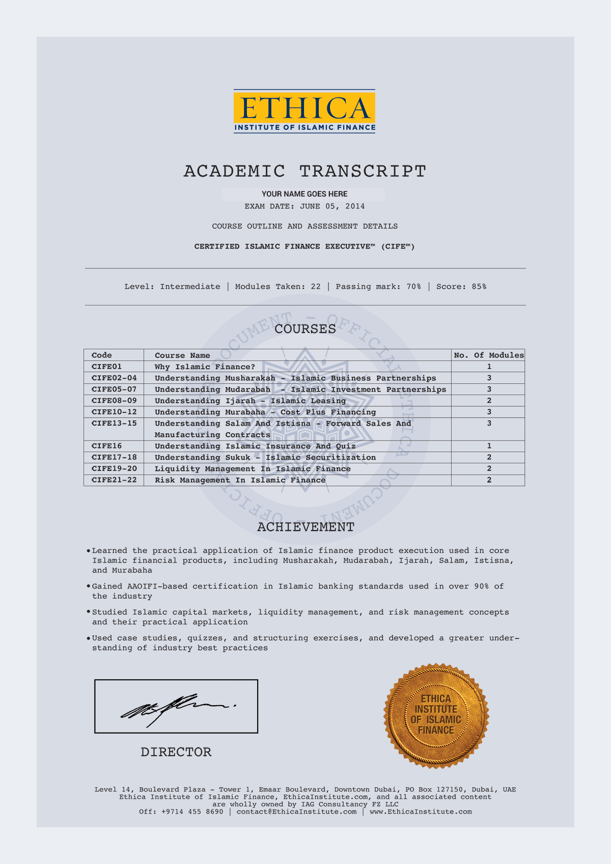 Ethica academic transcript fullg cife certificate yadclub Gallery