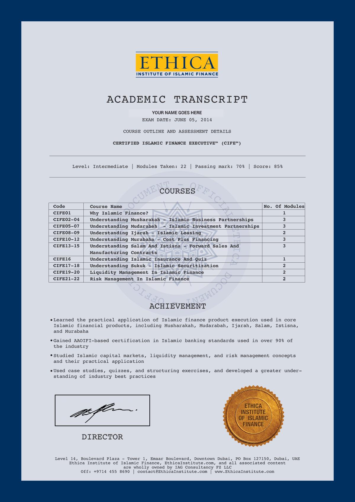 Certified Islamic Finance Executive Cife